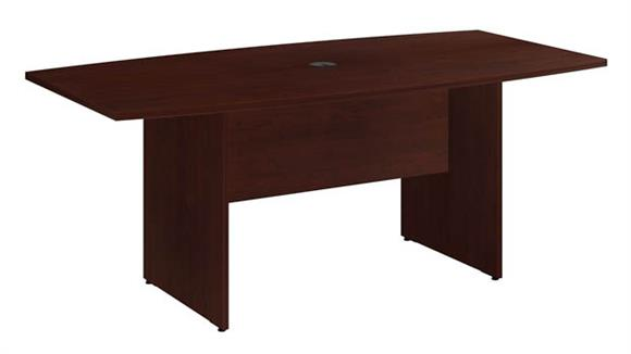 """Conference Tables Bush Furnishings 72""""W x 36""""D Boat Shaped Conference Table with Wood Base"""