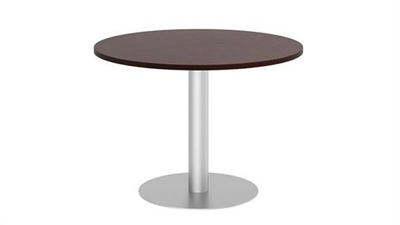 "Conference Tables Bush Furnishings 42""W Round Conference Table with Metal Disc Base"