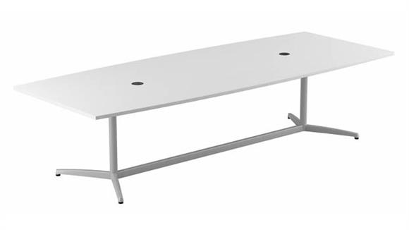 """Conference Tables Bush Furnishings 120""""W x 48""""D Boat Shaped Conference Table with Metal Base"""