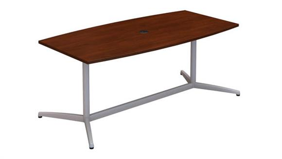 """Conference Tables Bush Furnishings 72""""W x 36""""D Boat Shaped Conference Table with Metal Base"""