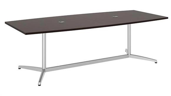 "Conference Tables Bush Furnishings 96""W x 42""D Boat Shaped Conference Table with Metal Base"