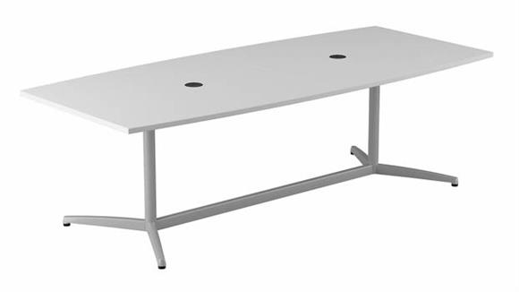 """Conference Tables Bush Furnishings 96""""W x 42""""D Boat Shaped Conference Table with Metal Base"""
