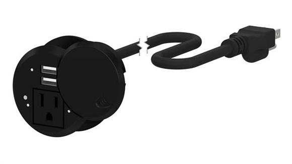 Desk Parts & Accessories Bush Furnishings Desktop Power Grommet with AC Outlet and 2 USB Ports