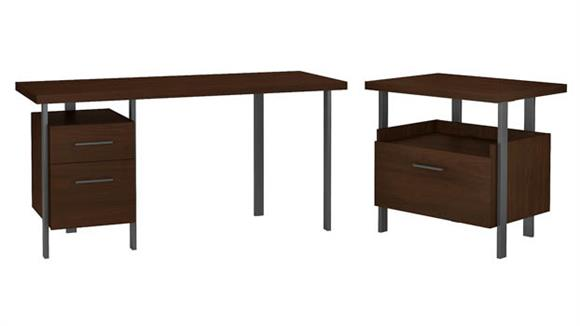 """Writing Desks Bush Furnishings 60""""W Writing Desk with Lateral File Cabinet"""