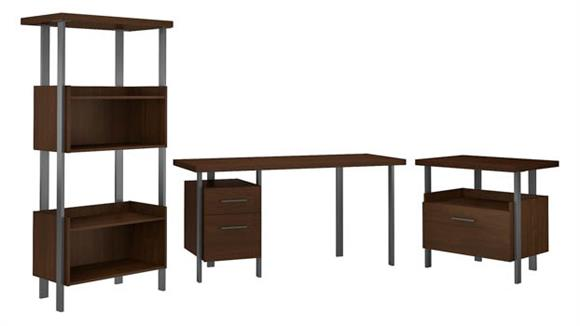 """Writing Desks Bush Furnishings 60""""W Writing Desk with Lateral File Cabinet and 4 Shelf Bookcase"""