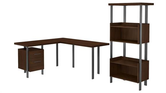 "L Shaped Desks Bush Furnishings 60""W L-Shaped Desk with 4 Shelf Bookcase"