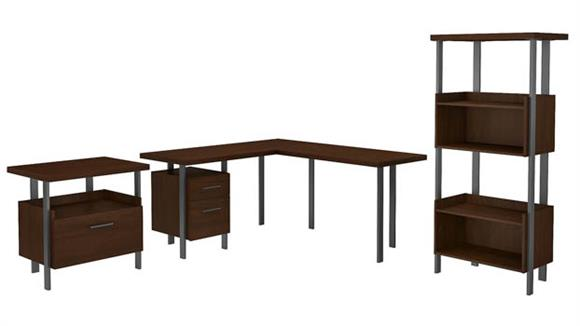 """L Shaped Desks Bush Furnishings 60""""W L-Shaped Desk with Lateral File Cabinet and 4 Shelf Bookcase"""