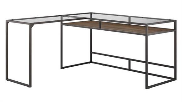"L Shaped Desks Bush Furnishings 60"" W Glass Top L-Shaped Desk with Shelf"