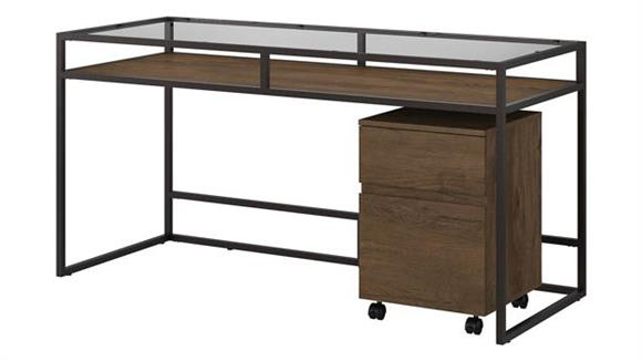 """Writing Desks Bush Furnishings 60"""" W Glass Top Writing Desk with 2 Drawer Mobile File Cabinet"""