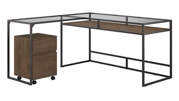 "L Shaped Desks Bush Furnishings 60"" W Glass Top L-Shaped Desk with 2 Drawer Mobile File Cabinet"