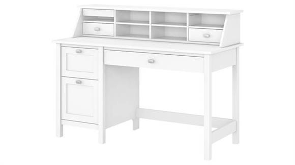 Computer Desks Bush Furnishings Computer Desk with 2 Drawer Pedestal and Organizer