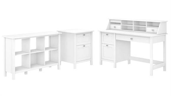 Computer Desks Bush Furnishings Computer Desk with Pedestal, Organizer, Bookcase and File Cabinet