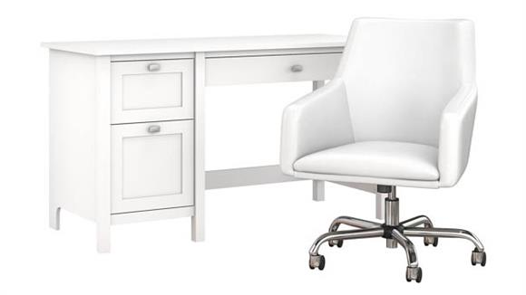 """Computer Desks Bush Furnishings 54"""" W Computer Desk with Drawers and Mid Back Leather Box Chair"""