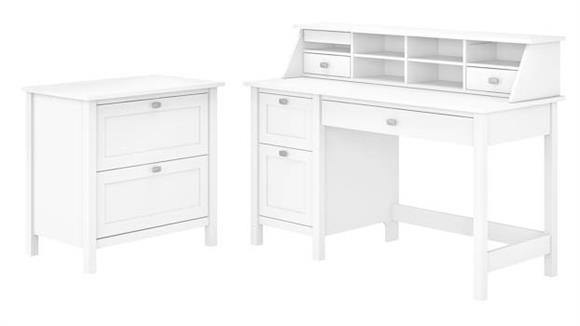 """Computer Desks Bush Furnishings 54"""" W Computer Desk with Drawers, Desktop Organizer and Lateral File Cabinet"""