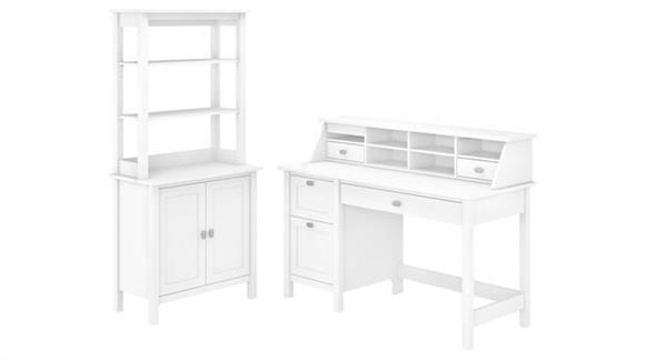 "Computer Desks Bush Furnishings 54"" W Computer Desk with Drawers, Desktop Organizer, Accent Storage Cabinet and Hutch"
