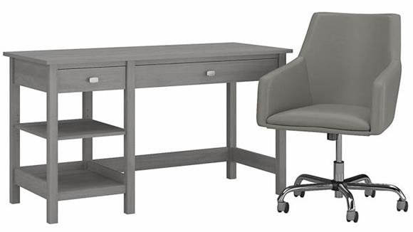"""Computer Desks Bush Furnishings 54"""" W Computer Desk with Shelves and Mid Back Leather Box Chair"""