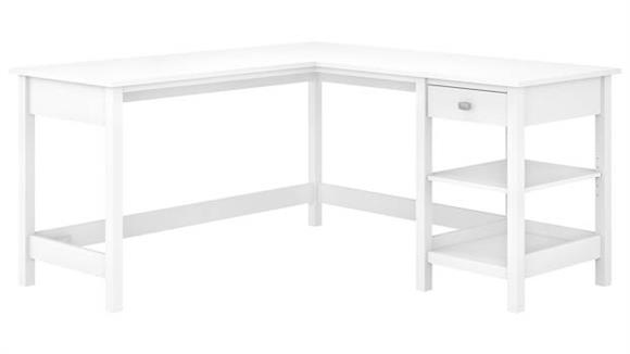 "L Shaped Desks Bush Furnishings 60"" W L-Shaped Computer Desk with Storage"