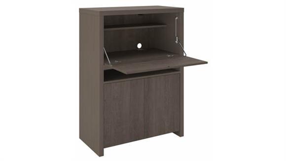 Computer Desks Bush Furnishings Secretary Desk with Storage Cabinet