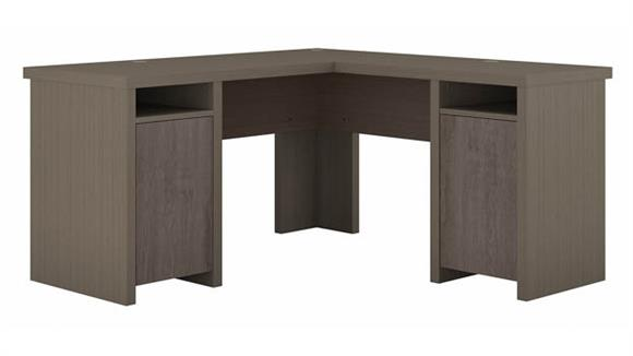 L Shaped Desks Bush Furnishings L-Shaped Computer Desk with Storage Cabinets and Shelves