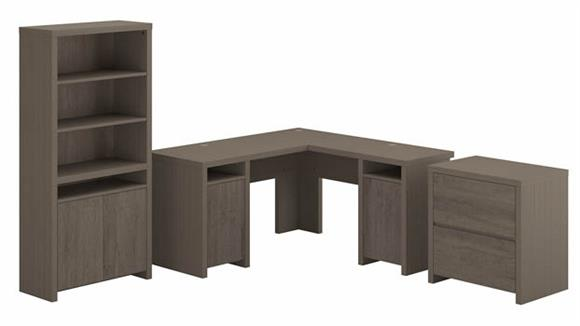 """L Shaped Desks Bush Furnishings 60"""" L-Shaped Computer Desk with Lateral File Cabinet and Bookcase"""