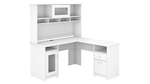 L Shaped Desks Bush Furnishings L-Shaped Desk with Hutch