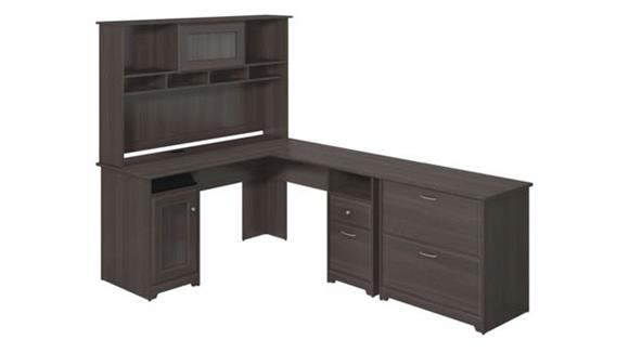 """L Shaped Desks Bush Furnishings 60""""W L-Shaped Computer Desk with Hutch and Lateral File Cabinet"""