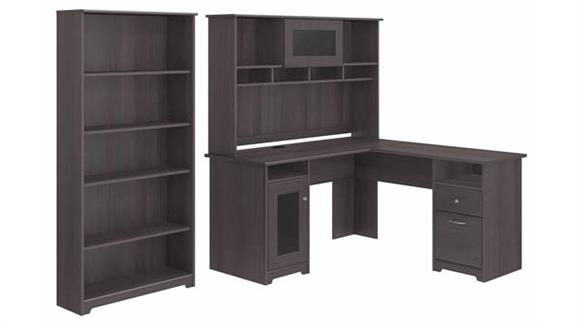 "L Shaped Desks Bush Furnishings 60""W L-Shaped Computer Desk with Hutch and 5 Shelf Bookcase"