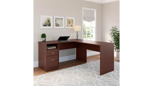 "L Shaped Desks Bush Furnishings 60""W L Shaped Computer Desk with Drawers"