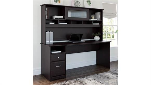 """Computer Desks Bush Furnishings 72""""W Computer Desk with Hutch and Drawers"""