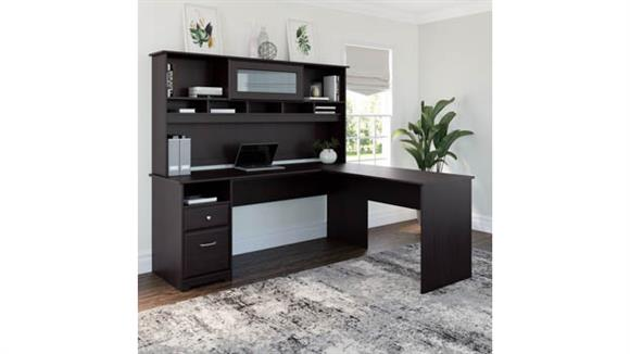 """L Shaped Desks Bush Furnishings 72""""W L Shaped Computer Desk with Hutch and Drawers"""