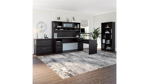 """Adjustable Height Desks & Tables Bush Furnishings 72""""W 3 Position L Shaped Sit to Stand Desk with Hutch and Storage"""