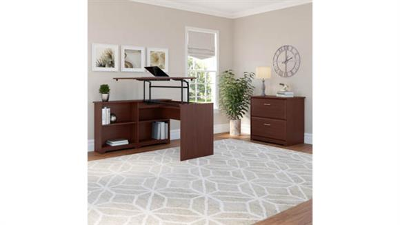 """Adjustable Height Desks & Tables Bush Furnishings 52"""" W 3 Position Sit to Stand Corner Bookshelf Desk with Lateral File Cabinet"""
