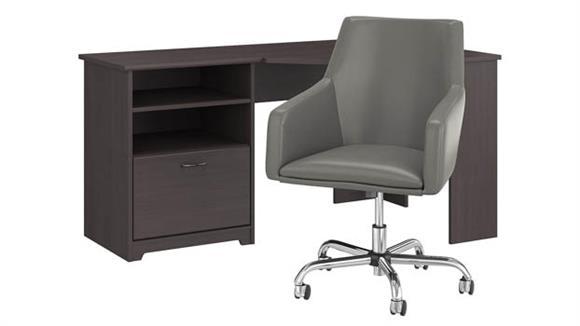 "Corner Desks Bush Furnishings 60""W Corner Desk with Mid Back Leather Box Chair"