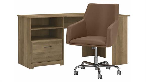 "Corner Desks Bush Furnishings 60"" W Corner Desk with Mid Back Leather Box Chair"