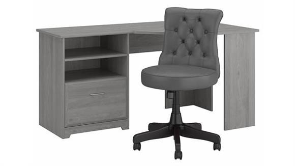 "Corner Desks Bush Furnishings 60"" W Corner Desk with Mid Back Tufted Office Chair"