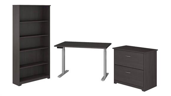 """Adjustable Height Desks & Tables Bush Furnishings 48""""W Height Adjustable Standing Desk with Lateral File Cabinet and 5 Shelf Bookcase"""