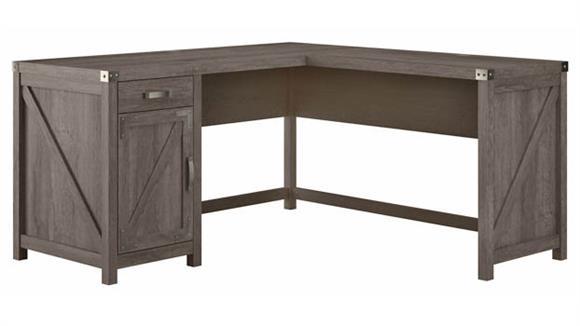 "L Shaped Desks Bush Furnishings 60""W L-Shaped Desk with Drawer and Storage Cabinet"