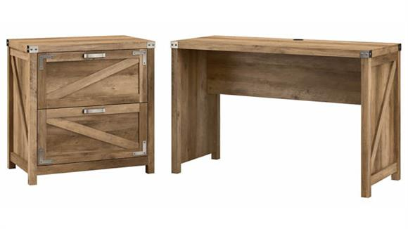 """Writing Desks Bush Furnishings 48""""W Farmhouse Writing Desk with 2 Drawer Lateral File Cabinet"""