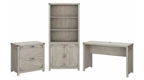 """Writing Desks Bush Furnishings 48"""" W Farmhouse Writing Desk with Lateral File Cabinet and 5 Shelf Bookcase"""
