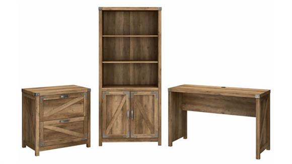 """Writing Desks Bush Furnishings 48""""W Farmhouse Writing Desk with Lateral File Cabinet and 5 Shelf Bookcase"""