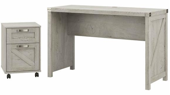 "Writing Desks Bush Furnishings 48""W Farmhouse Writing Desk with 2 Drawer Mobile File Cabinet"