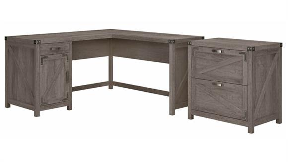 """L Shaped Desks Bush Furnishings 60""""W L-Shaped Desk with 2 Drawer Lateral File Cabinet"""