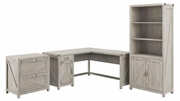 """L Shaped Desks Bush Furnishings 60"""" W L-Shaped Desk with Lateral File Cabinet and 5 Shelf Bookcase"""