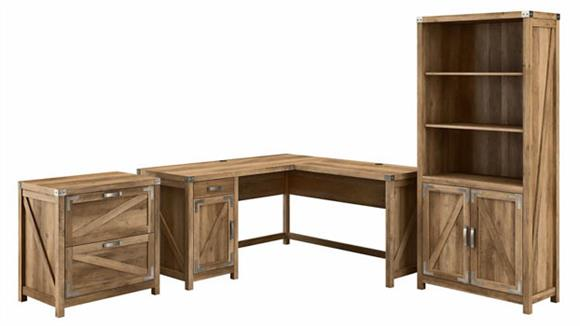 """L Shaped Desks Bush Furnishings 60""""W L-Shaped Desk with Lateral File Cabinet and 5 Shelf Bookcase"""