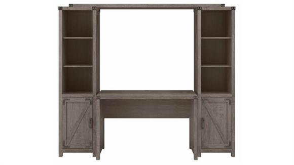 "Writing Desks Bush Furnishings 48"" W Farmhouse Writing Desk with Bookshelves (Set of 2)"