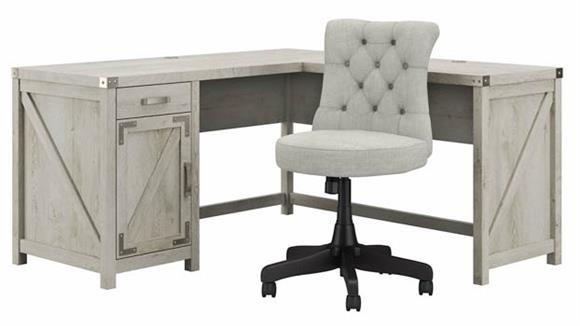 "L Shaped Desks Bush Furnishings 60""W L-Shaped Desk and Chair Set"