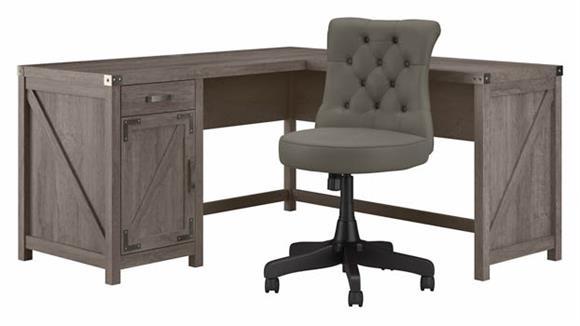 "L Shaped Desks Bush Furnishings 60"" W L-Shaped Desk and Chair Set"