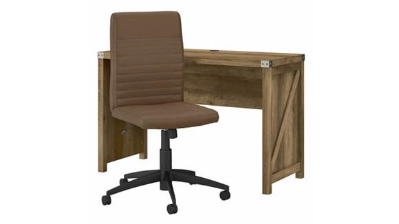 "Writing Desks Bush Furnishings 48"" W Farmhouse Writing Desk and Chair Set"
