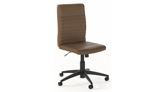 Office Chairs Bush Furnishings Mid Back Ribbed Leather Office Chair