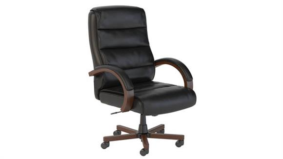 Office Chairs Bush Furnishings High Back Leather Executive Office Chair with Wood Arms